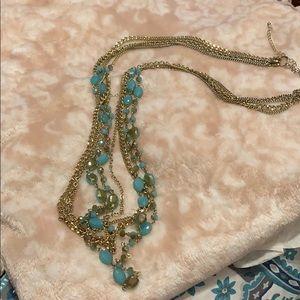 "5 strand necklace approx. 30"".  Gold & Aqua"